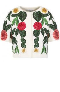 Шерстяной жакет с укороченным рукавом и контрастной вышивкой Oscar de la Renta
