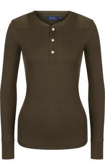 Приталенный хлопковый пуловер с круглым вырезом Polo Ralph Lauren