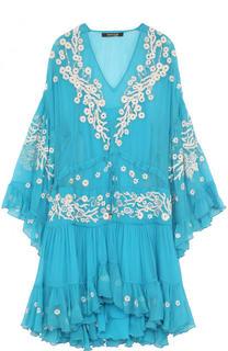 Шелковое мини-платье с оборками и вышивкой Roberto Cavalli