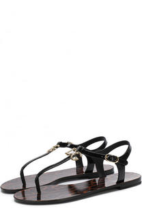 Кожаные сандалии с логотипом бренда Dolce & Gabbana