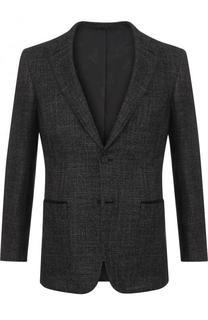Однобортный пиджак из смеси шерсти и шелка с кашемиром Brioni