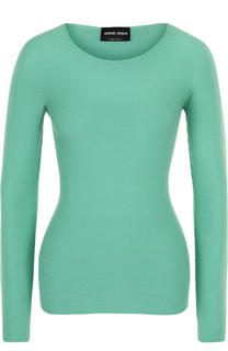 Приталенный пуловер с круглым вырезом и длинным рукавом Giorgio Armani