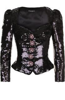 Жакет с фигурным вырезом и рукавом-фонарик Dolce & Gabbana