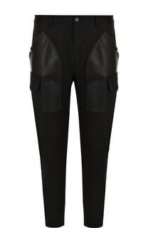 Хлопковые зауженные брюки с кожаной отделкой Dsquared2