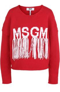 Пуловер с логотипом бренда и бахромой MSGM