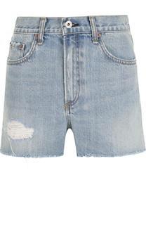 Джинсовые мини-шорты с завышенной талией и потертостями Rag&Bone Rag&Bone