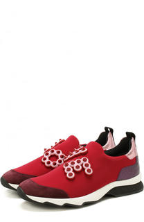 Комбинированные кроссовки с аппликациями Fendi