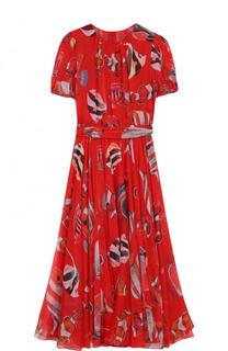Шелковое платье-миди с принтом и поясом Dolce & Gabbana