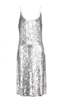 Приталенное платье-миди с пайетками Oscar de la Renta