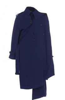 Хлопковое двубортное пальто с поясом Balenciaga