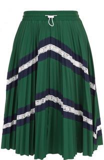 Плиссированная мини-юбка с кружевными вставками Valentino