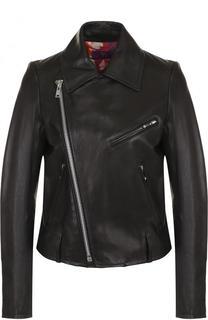 Кожаная куртка с косой молнией и отложным воротником Yohji Yamamoto