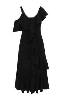 Шелковое платье-миди с оборками и открытым плечом Proenza Schouler