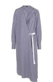 Хлопковое платье-миди в полоску Joseph