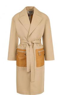 Хлопковое однотонное пальто с кожаными карманами Yves Salomon