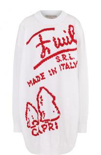 Удлиненный хлопковый пуловер с круглым вырезом и надписью Emilio Pucci