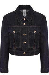 Укороченная джинсовая куртка с контрастной прострочкой Carven
