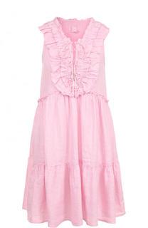 Льняное мини-платье свободного кроя с оборками 120% Lino