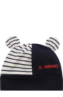 Хлопковая шапка с декором Il Trenino