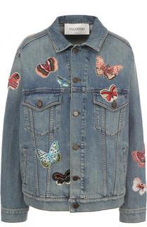 Джинсовая куртка с потертостями и отделкой в виде бабочек Valentino
