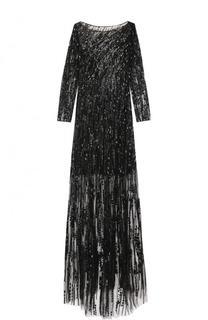 Платье-макси с вышивкой и подолом Jenny Packham