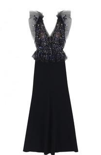 Приталенное платье-макси с декорированным лифом Jenny Packham
