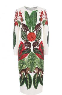 Приталенное платье-миди с длинным рукавом и вышивкой Oscar de la Renta