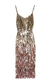 Приталенное платье-миди с пайетками и бахромой Dolce & Gabbana