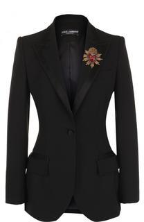 Приталенный однотонный жакет из смеси шерсти и шелка Dolce & Gabbana