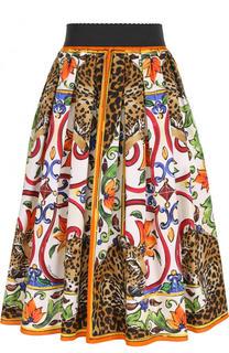 Хлопковая юбка-миди с принтом и эластичным поясом Dolce & Gabbana