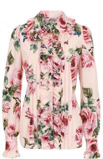 Приталенная шелковая блуза с цветочным принтом Dolce & Gabbana