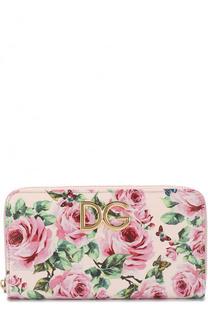 Кожаное портмоне с цветочным принтом на молнии Dolce & Gabbana