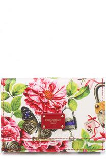 Кожаное портмоне с цветочным принтом с клапаном Dolce & Gabbana
