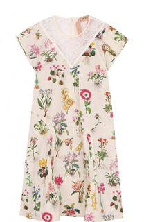 Мини-платье с цветочным принтом и кружевной отделкой No. 21