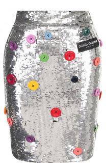 Мини-юбка с пайетками с контрастными пуговицами Dolce & Gabbana