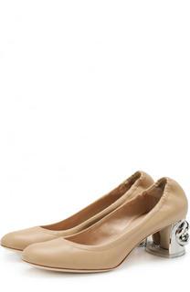 Кожаные туфли на устойчивом каблуке с декором Casadei