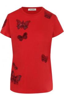 Хлопковая футболка с отделкой в виде бабочек Valentino