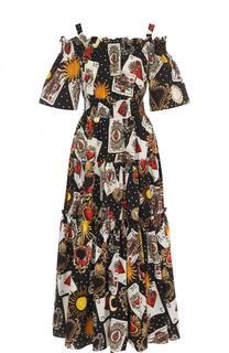 Хлопковый сарафан с принтом и открытыми плечами Dolce & Gabbana