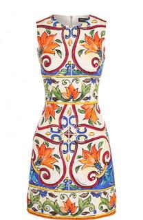 Приталенное мини-платье с ярким принтом Dolce & Gabbana