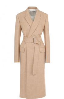 Пальто из смеси хлопка и вискозы с широким поясом Victoria Beckham