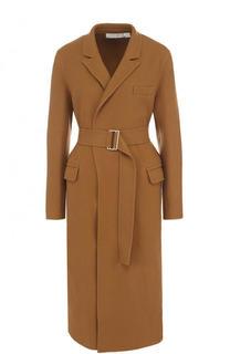 Однотонное пальто из смеси шерсти и кашемира с поясом Victoria Beckham
