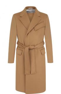 Однобортное шерстяное пальто с поясом CALVIN KLEIN 205W39NYC