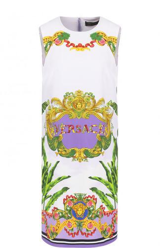 Мини-платье из вискозы с ярким принтом Versace