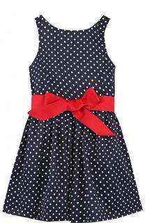 Приталенное платье в горох с контрастным поясом Polo Ralph Lauren