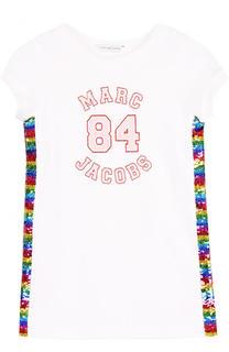 Хлопковое платье прямого кроя с отделкой пайетками Marc Jacobs