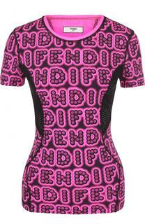 Приталенный топ с логотипом бренда и перфорацией Fendi