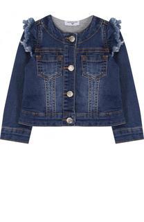 Укороченная джинсовая куртка с оборками и пайетками Monnalisa