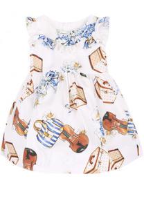 Хлопковое платье с оборками и принтом Monnalisa