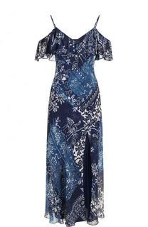 Платье-макси с открытыми плечами и оборками Polo Ralph Lauren