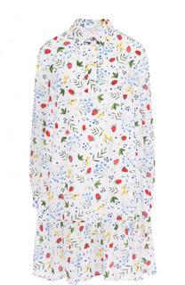 Шелковое мини-платье свободного кроя с цветочным принтом Alexander Terekhov